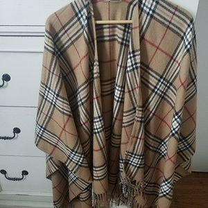 Sweaters - Tan, red and black Plaid Wrap